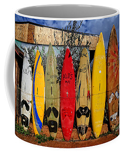 Surf Board Fence Maui Hawaii Coffee Mug
