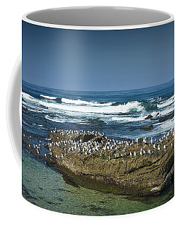 Surf Waves At La Jolla California With Gulls Perched On A Large Rock No. 0194 Coffee Mug