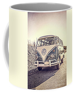 Surfer's Vintage Vw Samba Bus At The Beach Coffee Mug