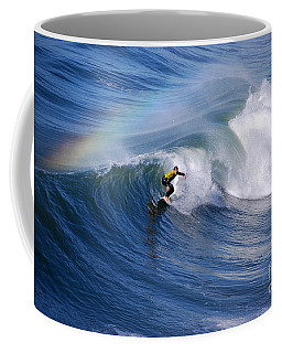Surfing Under A Rainbow Coffee Mug by Catherine Sherman