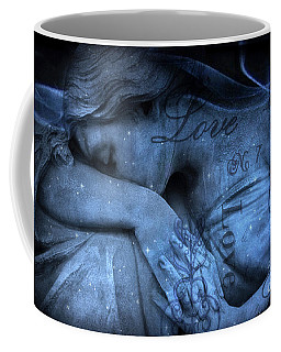 Surreal Blue Sad Mourning Weeping Angel Lost Love - Starry Blue Angel Weeping With Love Script Coffee Mug