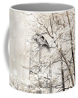 Surreal Dreamy Winter White Church Trees Coffee Mug