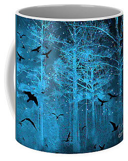 Surreal Fantasy Blue Woodlands Ravens And Stars - Fairytale Fantasy Blue Nature With Flying Ravens Coffee Mug