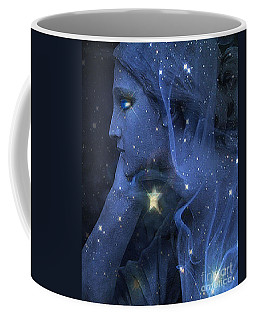 Surreal Fantasy Celestial Blue Angelic Face With Stars Coffee Mug