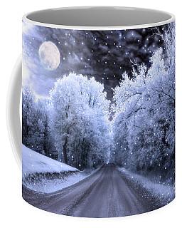 Blue Moon Full Moon Surreal Fantasy Fairytale Blue Moon Stars Nature Winter Landscape Coffee Mug