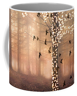 Surreal Fantasy Nature Trees Woodlands Forest Sparkling Lights Birds And Trees Nature Landscape Coffee Mug