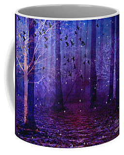 Surreal Fantasy Starry Night Purple Woodlands - Purple Blue Fantasy Nature Fairy Lights  Coffee Mug