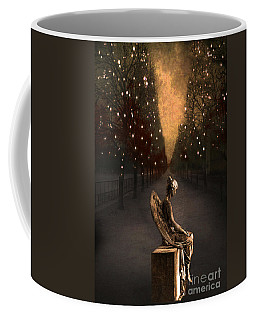 Surreal Gothic Angel Haunting Emotive Angel Sitting On Bench -fantasy Surreal Gothic Angel Prints Coffee Mug