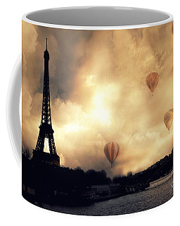 Surreal Paris Eiffel Tower Storm Clouds Sunset Sepia And Hot Air Balloons Coffee Mug by Kathy Fornal