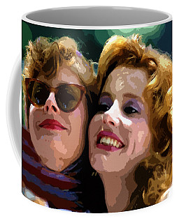Susan Sarandon And Geena Davies Alias Thelma And Louis - Watercolor Coffee Mug