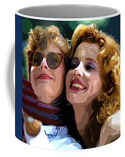 Susan Sarandon And Geena Davies Alias Thelma And Louis - Watercolor Coffee Mug by Doc Braham