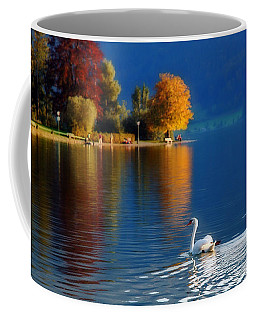 Beautiful Autumn Swan At Lake Schiliersee Germany  Coffee Mug