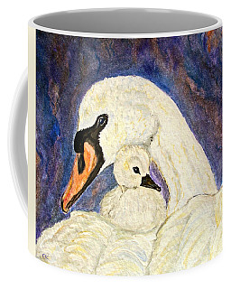 Mother's Love Swan And Baby Painting Coffee Mug