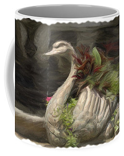 Swan With Beautiful Flowers Coffee Mug
