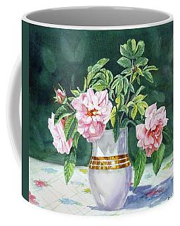 Coffee Mug featuring the painting Sweet Tea Roses Bouquet by Irina Sztukowski