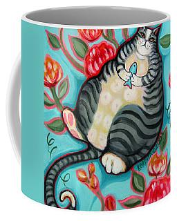 Tabby Cat On A Cushion Coffee Mug