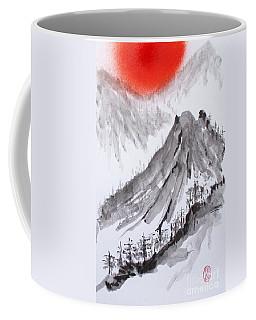 Coffee Mug featuring the painting Takahara Yama - Hinode by Roberto Prusso
