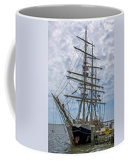 Coffee Mug featuring the photograph Tall Ship Gunilla Vertical by Dale Powell