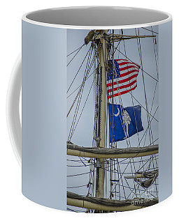 Coffee Mug featuring the photograph Tall Ships Flags by Dale Powell