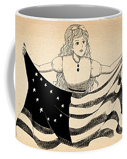 Coffee Mug featuring the drawing Tammy And The Flag by Reynold Jay
