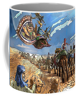 Coffee Mug featuring the painting Tammy And The Flying Carpet by Reynold Jay