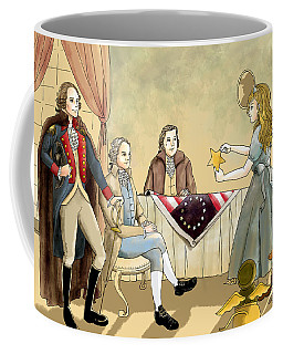 Coffee Mug featuring the painting Tammy Meets Betsy Ross And George Washington by Reynold Jay