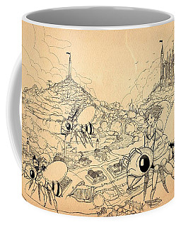 Coffee Mug featuring the drawing Flight Over Capira by Reynold Jay