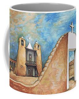 Taos Pueblo New Mexico - Watercolor Art Painting Coffee Mug