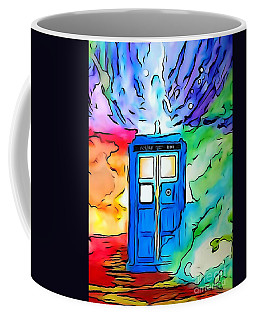 Coffee Mug featuring the drawing Tardis Illustration Edition by Justin Moore