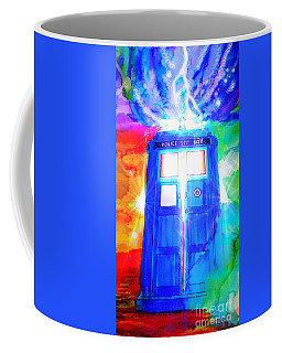 Coffee Mug featuring the drawing Tardis by Justin Moore
