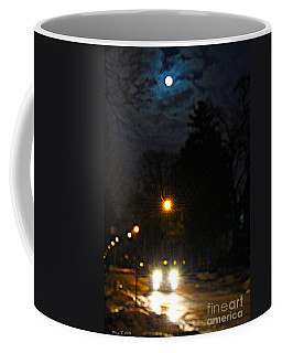 Coffee Mug featuring the photograph Taxi In Full Moon by Nina Silver