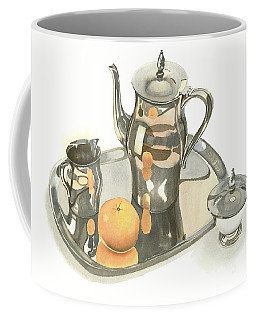 Coffee Mug featuring the painting Tea Service With Orange by Kip DeVore