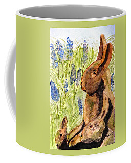 Coffee Mug featuring the painting Terra Cotta Bunny Family by Angela Davies