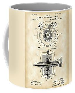 Tesla Alternating Electric Current Generator Patent 1891 - Vintage Coffee Mug by Stephen Younts