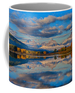 Teton Panoramic Reflections At Oxbow Bend Coffee Mug