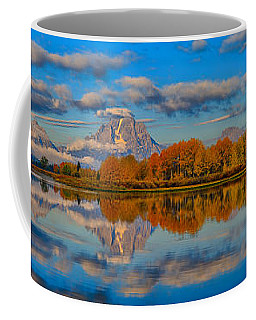Teton Panoramic Reflections At Oxbow Bend Coffee Mug