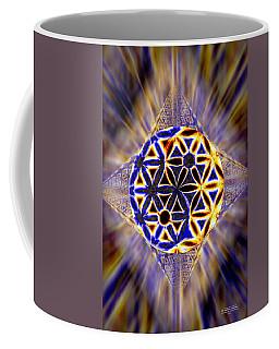 Coffee Mug featuring the drawing Tetra Balance Crystal by Derek Gedney