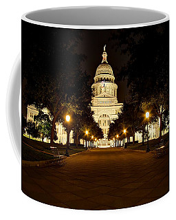 Coffee Mug featuring the photograph Texas Capitol At Night by Dave Files