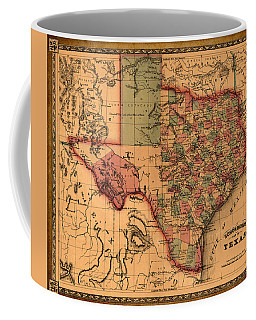 Texas Map Art - Vintage Antique Map Of Texas Coffee Mug