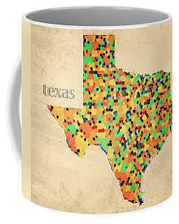 Texas Map Crystalized Counties On Worn Canvas By Design Turnpike Coffee Mug