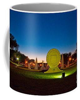 Coffee Mug featuring the photograph Texas Tech Seal At Night by Mae Wertz