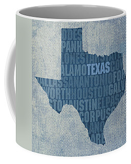 Texas Word Art State Map On Canvas Coffee Mug