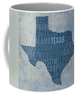 Texas Word Art State Map On Canvas Coffee Mug