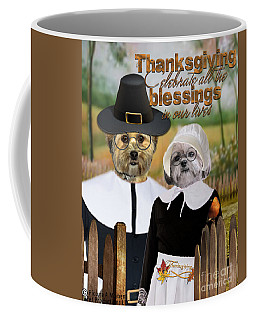 Coffee Mug featuring the digital art Thanksgiving From The Dogs-2 by Kathy Tarochione