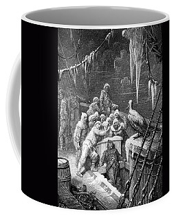 The Albatross Being Fed By The Sailors On The The Ship Marooned In The Frozen Seas Of Antartica Coffee Mug