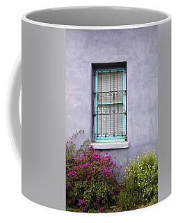 The Aqua Blue Window And Spring Flowers Coffee Mug