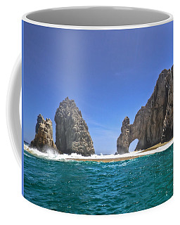 Coffee Mug featuring the photograph The Arch  Cabo San Lucas On A Low Tide by Eti Reid