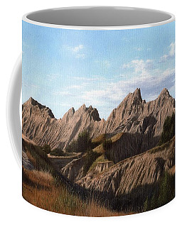 The Badlands In South Dakota Oil Painting Coffee Mug