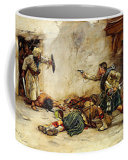 Coffee Mug featuring the painting The Battle Of Kandahar by Celestial Images