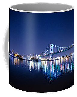 Coffee Mug featuring the photograph The Benjamin Franklin Bridge At Night by Bill Cannon